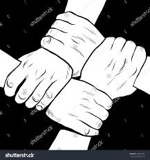 black white hands solidarity friendship stock vector 406969927