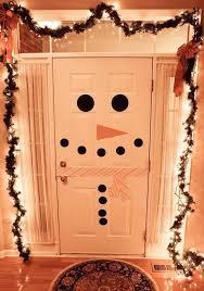 front door christmas decoration ideas snowmans face christmas lights