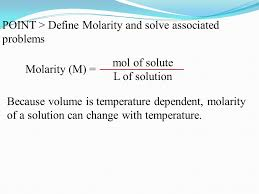 point u003e define molarity and solve associated problems point