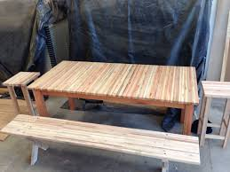 Patio Furniture Made With Pallets - solid laminated pallet wood table with red saligna legs and frame