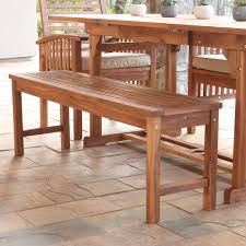 Outdoor Dining Bench Walker Edison Owb7sbr Acacia Wood Patio Bench In Brown Solid Acacia
