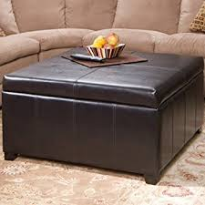 Storage Ottoman Coffee Table Harley Leather Espresso Tray Top Storage Ottoman