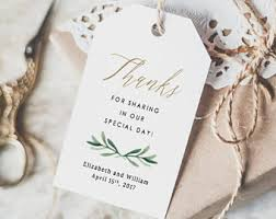 Thank You Tags Wedding Favors Templates by Favor Tag Etsy
