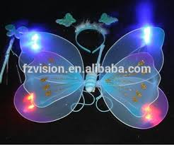 light up fairy wings wholesale double layer girls butterfly 4pcs lights on led light up