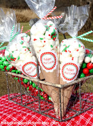 diy holiday cocoa cello cone treat bag by thebakersconfections
