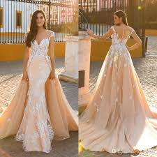 blush wedding dress mermaid blush wedding dresses with detachable 2017