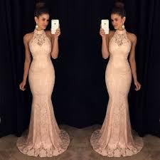 halter peach long mermaid cheap lace prom dress pm0013 lace