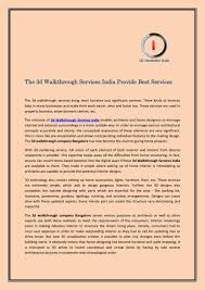 the 3d walkthrough services india provide best services by