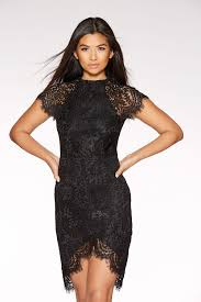 black bodycon dress black lace scallop bodycon dress quiz clothing