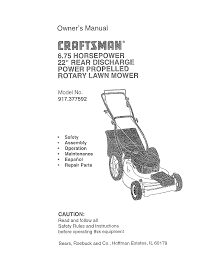 craftsman lawn mower 917 377592 user guide manualsonline com