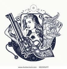 wild west tattoo tshirt design revolver stock vector 704065525