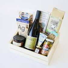 wine and cheese gift baskets foxen wine gift box cheese and snacks santa barbara company