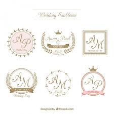 retro wedding badges in ornamental style vector free
