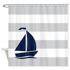 Sailboat Shower Curtains Nautical Shower Curtain Light Grey And White Stripes Navy Blue