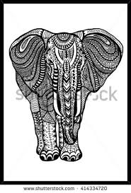stylized animal black and white front view elephant