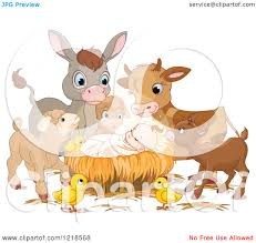 clipart of a baby jesus surrounded by cute animals royalty free
