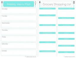 weekly meal planner with grocery list template blank price