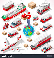 isometric worldwide express delivery concept 3d stock vector