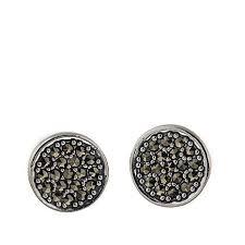 button earrings black marcasite pavé sterling silver button earrings 8629595 hsn