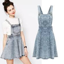 womens retro washed casual blue denim overall jumper dress skater