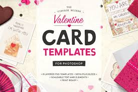 card templates for photoshop valentine card design kit ps card templates on creative market valentine card templates