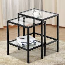 iron and wood side table end tables good metal and glass end tables in home decorating