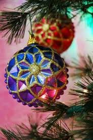 Christmas Tree Decorations Blue And Red by