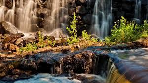waterfalls flowers pink river falls autumn waterfalls lake