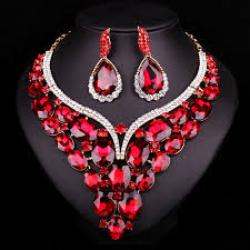 red big necklace images New fashion gold color big red crystal bridal jewelry set for jpg