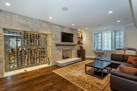 basement wine cellar basement transitional with accent wall