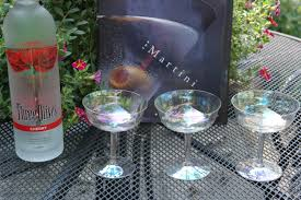 vintage iridescent optic glass cocktail coupe martini glasses set