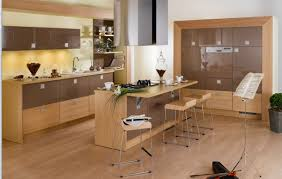 simple l shape kitchen style with island with brown color birch