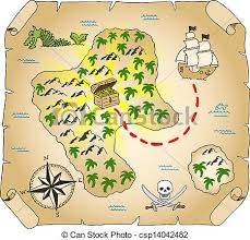 treasure map clipart vector illustration of a brown treasure map illustration of a