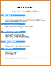 Example Of Teacher Resume 100 Sample Teacher Resume In The Philippines About T I P