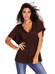 elastic waist blouse brown v neck batwing sleeve high elastic waist blouse