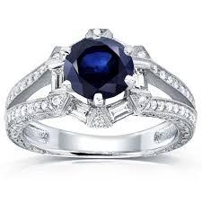 art deco blue sapphire and diamond engagement ring 1 3 5 ctw 14k