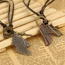 leather necklace with pendants images 1pc angel wing cross necklace women biker jewelry gifts mens jpg