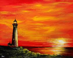 Lighthouse Cove Wall Mural Decor Place Wall Murals Lighthouse Sunset Original Acrylic Painting On 8
