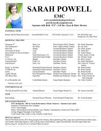 musical theatre resume exles musical theatre resume template cv resume