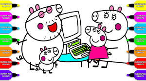 how to draw peppa pig family computer coloring pages kid