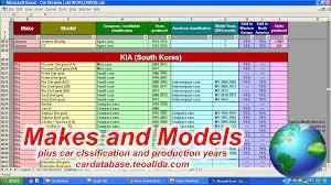 mazda car models list car database make model full specifications in excel format