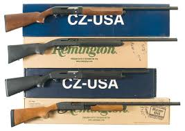 four boxed shotguns a cz model 720 huglu semi automatic shotgun