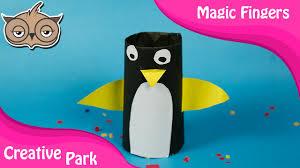 diy crafts how to make paper penguin pen holder for kids youtube