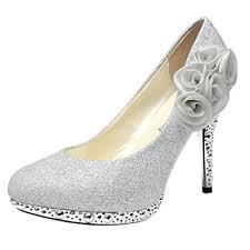 wedding shoes glitter getmorebeauty women s silver flower
