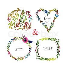 Wedding Flowers Drawing Vector Floral Frames Colorful Floral Frames With Leaves And