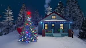 outdoor christmas tree cozy rural house decorated for christmas with christmas lights