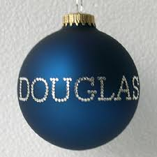 navy blue personalized ornament tree ornaments