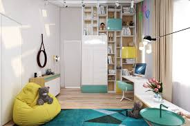 Murphy Bed Bookshelf Teens Room Teal And Yellow Kids Room Features Floor To Ceiling