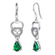 emerald drop earrings sterling silver linked hearts w 2 5ct teardrop emerald drop