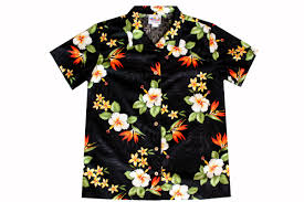 black bird of paradise womens hawaiian shirts